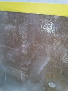 Detailsicht der geprimerten WHG Fläche an der Seitenwand
